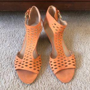 Rust orange peep toe wedges by Franco Sarto